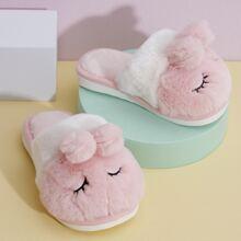 Girls Cartoon Design Fluffy Slippers