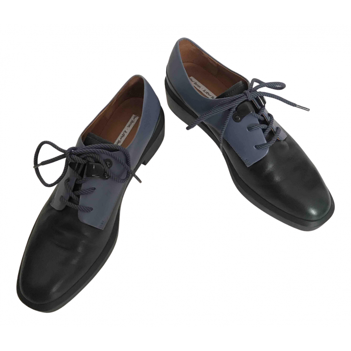& Stories N Blue Leather Lace ups for Women 38 EU