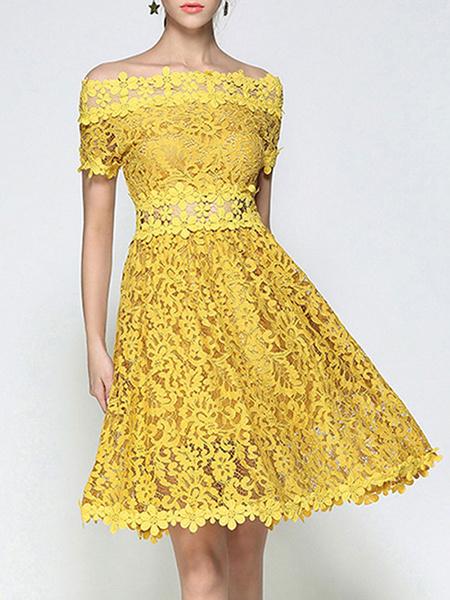 Milanoo Vestido a media pierna de manga corta con vestido de encaje de las mujeres del hombro amarillo