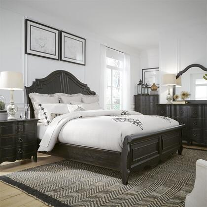 Liberty Furniture 493-BR-QSLDMCN 5 Piece Bedroom Set with Queen Size Sleigh Bed  Dresser and Mirror  Chest  Nightstand in Wire Brushed Antique Black