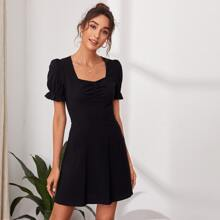 Sweetheart Neck Ruched Solid Dress