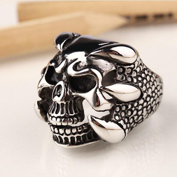 Fashion Finger Rings Irregular Skull Black Titanium Steel Rings Ethnic Jewelry for Men