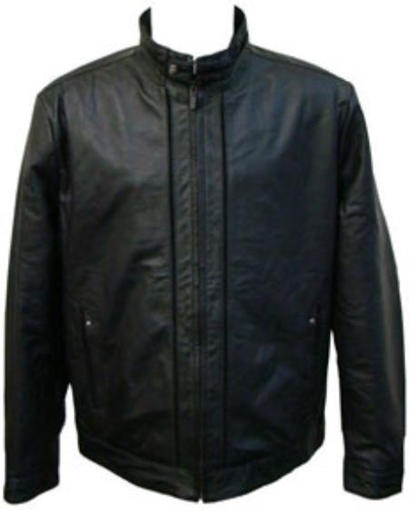 Mens Black Buckle Collar Lamb Leather Racing Jacket