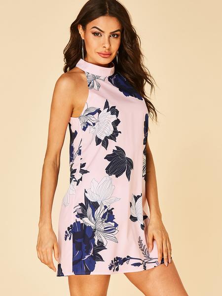 Yoins Pink Floral Print Halter Sleeveless Dress