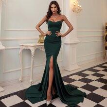 Zip Back Split Thigh Tube Prom Dress