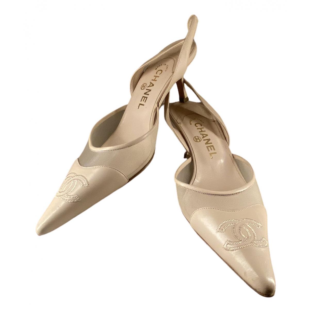Chanel - Escarpins Slingback pour femme en cuir - beige