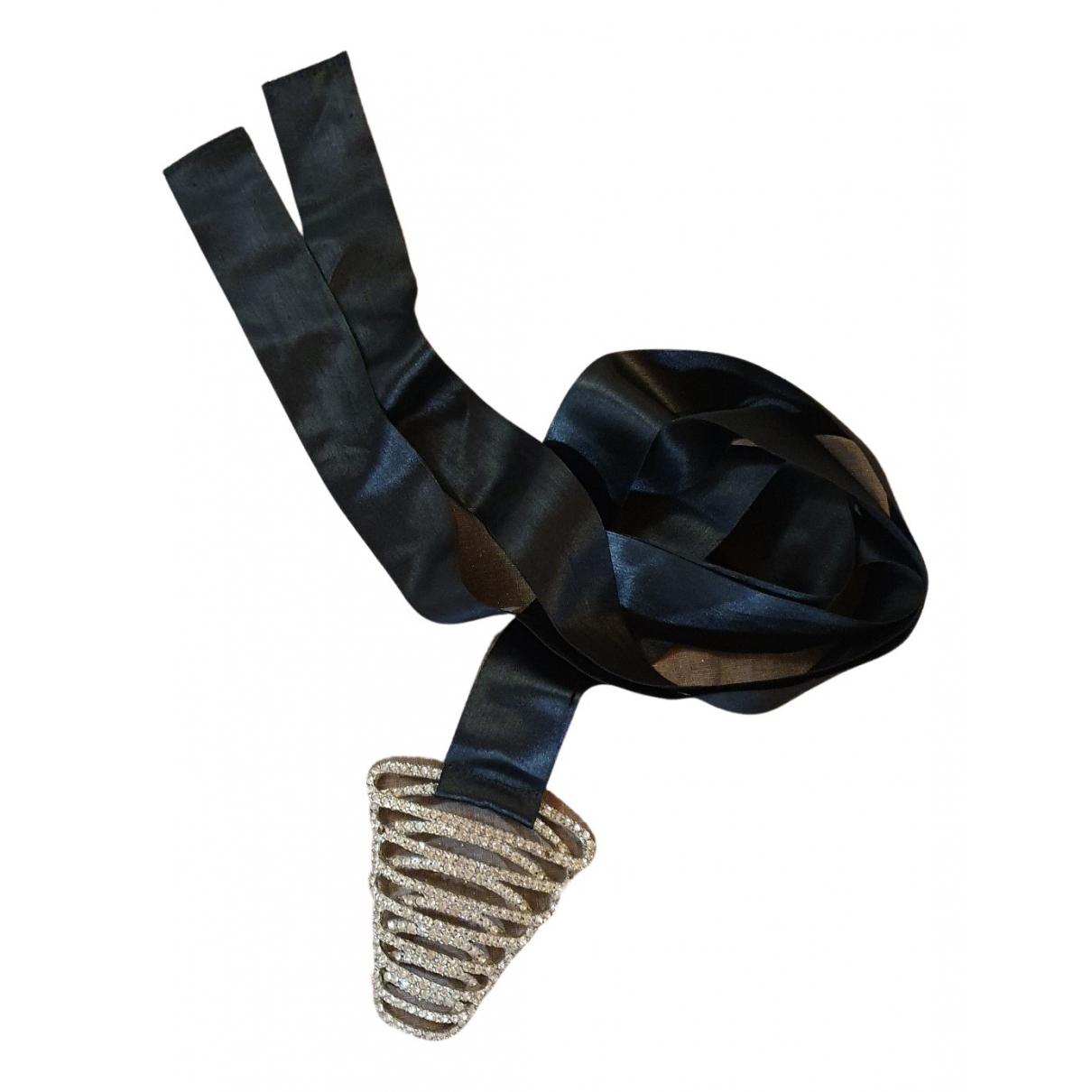 Orciani N Black Silk belt for Women 85 cm