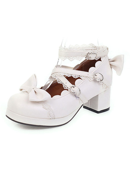 Milanoo Sweet Lolita Footwear Pink Bow Ruffles Round Toe PU Leather Lolita Shoes
