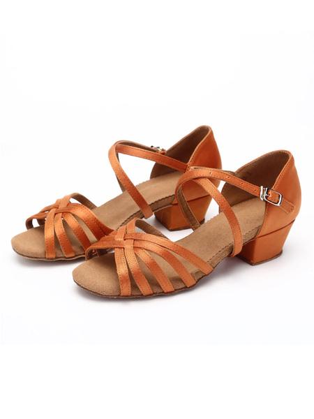 Milanoo Satin Ballroom Dance Shoes Open Toe Criss Cross Latin Dance Shoes For Kids