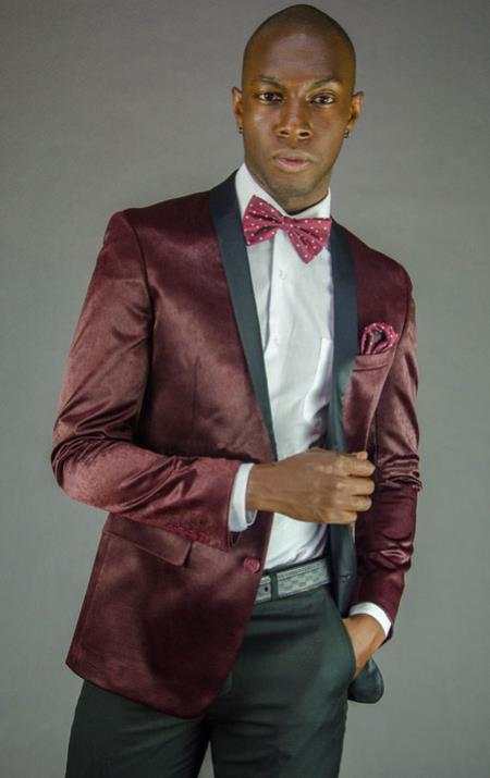 Mens 2 Button Burgundy Velvet Slim Fit Tuxedo Jacket