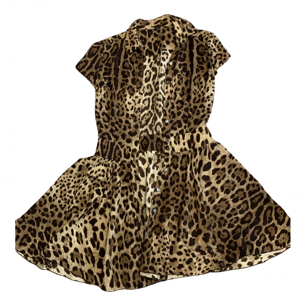 Dolce & Gabbana \N Kleid in  Kamel Seide