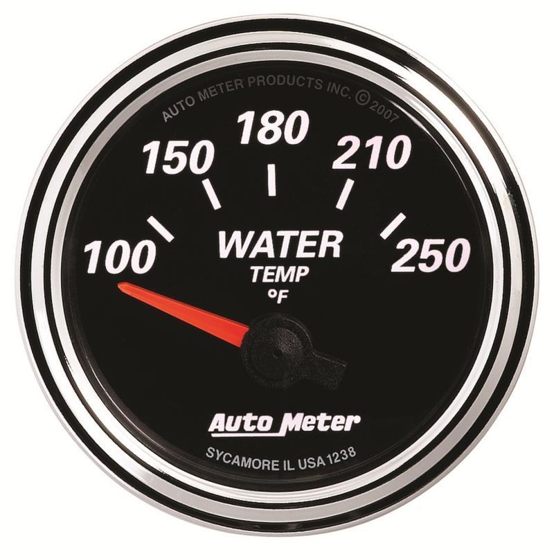 AutoMeter GAUGE; WATER TEMP; 2 1/16in.; 250deg.F; ELEC; DESIGNER BLACK II