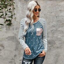 T-Shirt mit Kontrast Streifen, Raglanaermeln, Pailletten und Taschen