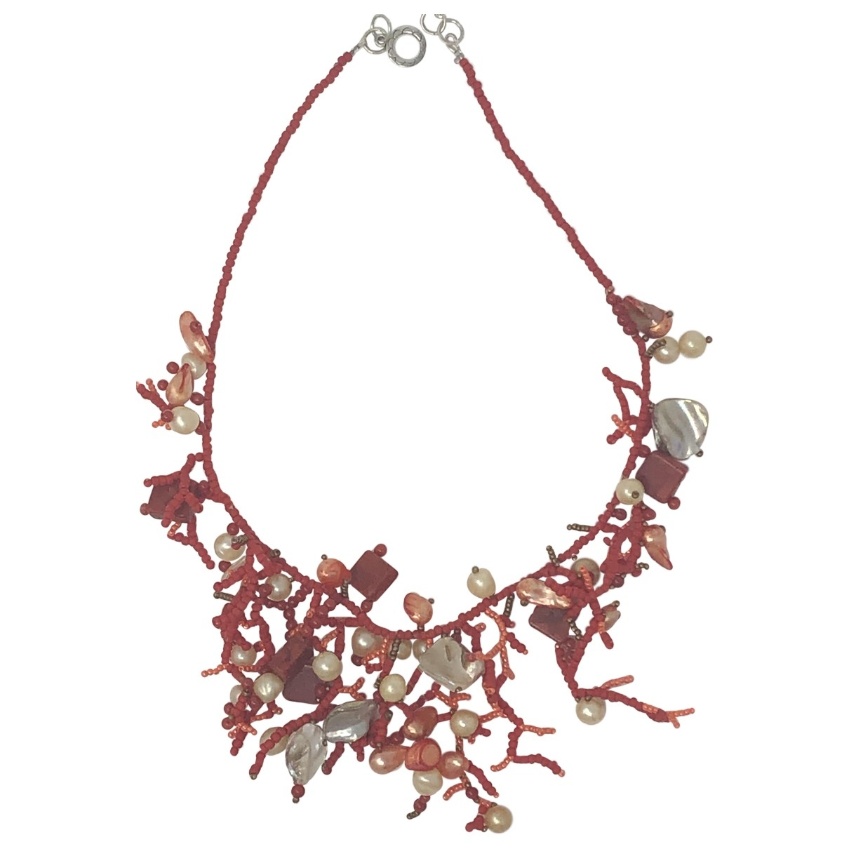Non Signé / Unsigned Corail Red Pearls necklace for Women \N