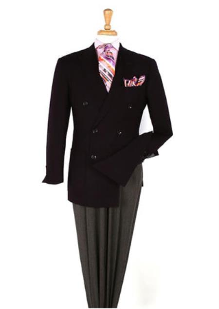 Mens Black Double breasted 100% Wool Blazer Sportcoat Jacket