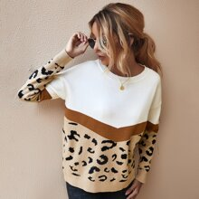 Drop Shoulder Color-block Sweater