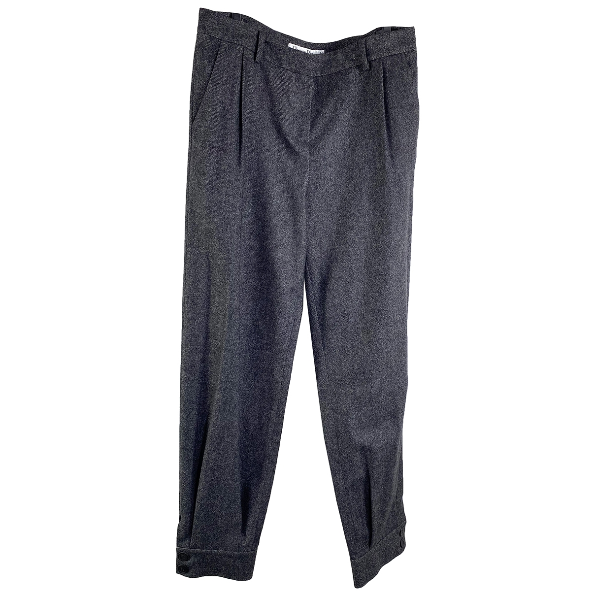 Dior \N Grey Wool Trousers for Women 42 FR