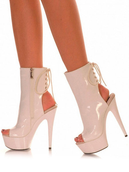 Milanoo Women Sexy Boots Platform Peep Toe Slingbacks Lace Up Sandal Booties High Heel Boots