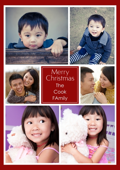 Christmas Photo Cards 5x7 Cards, Premium Cardstock 120lb with Rounded Corners, Card & Stationery -Collage Merry Christmas