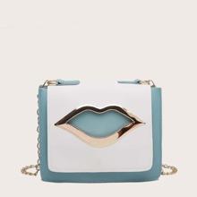 Tasche mit Lippe Dekor und Farbblock