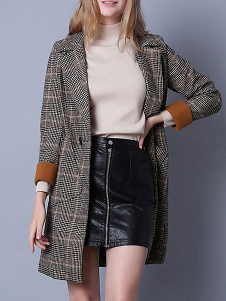 Milanoo Blazer poliester algodon a cuadros cuello de cobertura de las mujeres bolsillos de manga larga de las mujeres Outwear