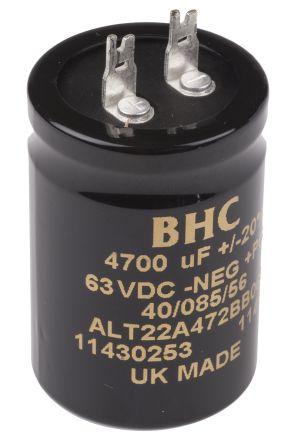 KEMET 4700μF Electrolytic Capacitor 63V dc, Solder Lug - ALT22A472BB063