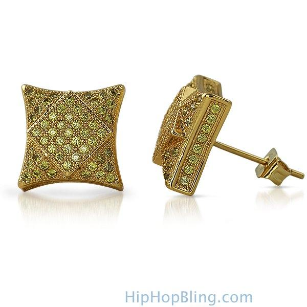 3D Square in Kite Lemonade CZ Micro Pave Bling Earrings