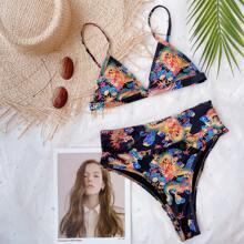 Bikini Badeanzug mit chinesichem Drachen Muster und hoher Taille
