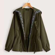 Jacke mit Buchstaben Muster, Band Detail, Kordelzug auf Taille und Kapuze