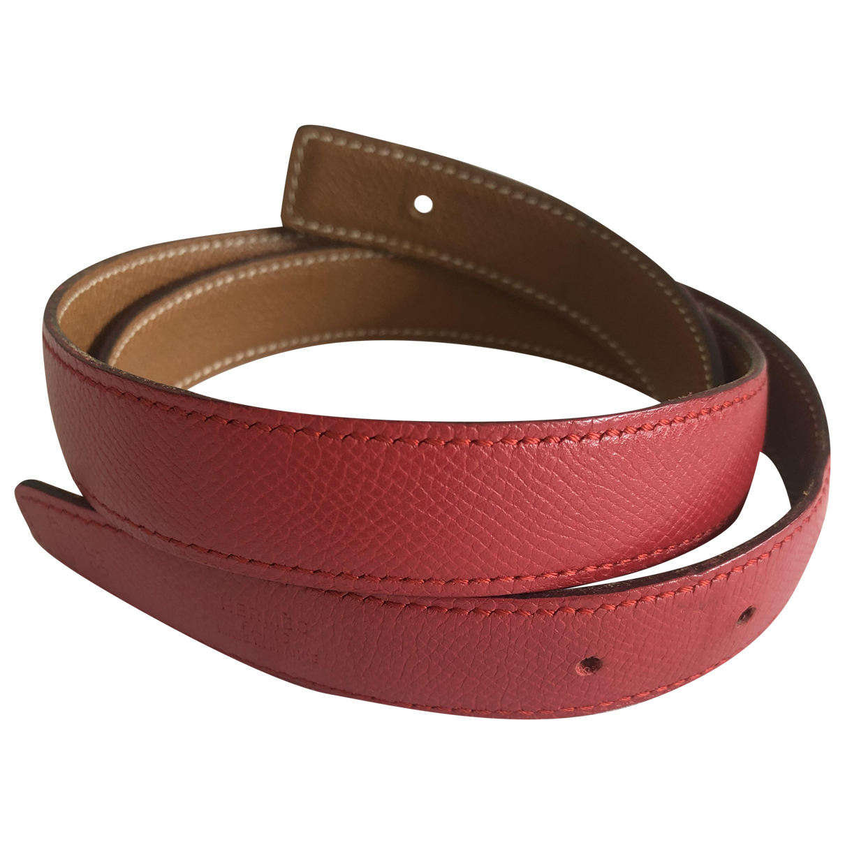 Hermès Boucle seule / Belt buckle Red Leather belt for Women 85 cm