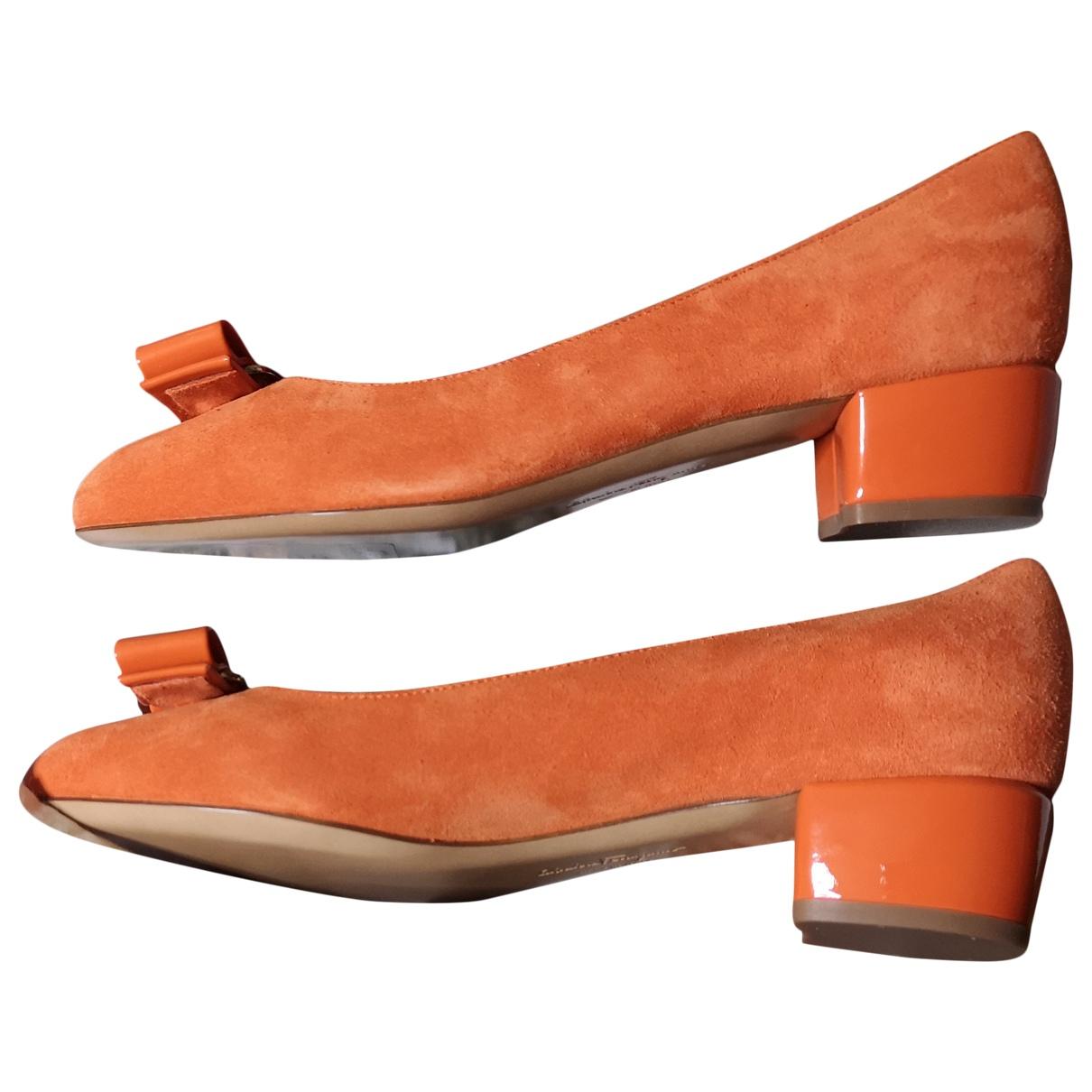 Salvatore Ferragamo \N Orange Suede Heels for Women 5 US