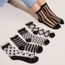 5 Paare Herz & Streifen Muster Mesh Socken