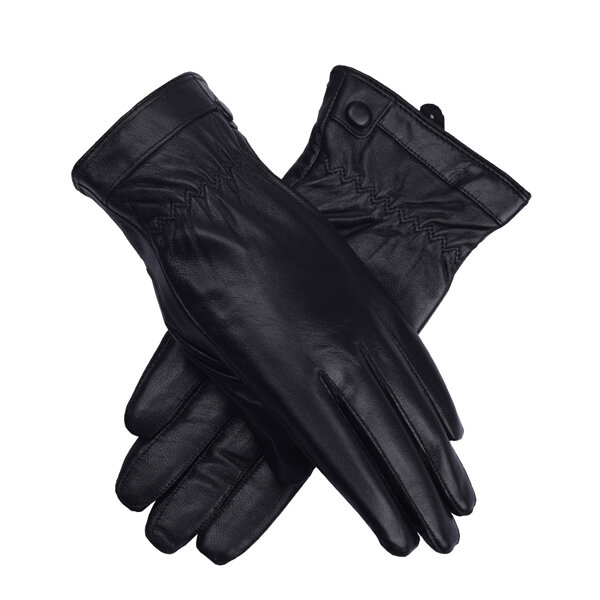 LYZA Men Women Genuine Leather GlovesWinter Thick Warm Cycling Driving Windproof Mittens