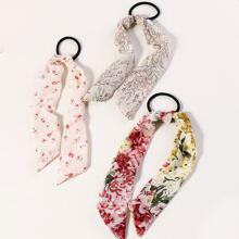 3pcs Floral Pattern Bow Knot Decor Hair Tie