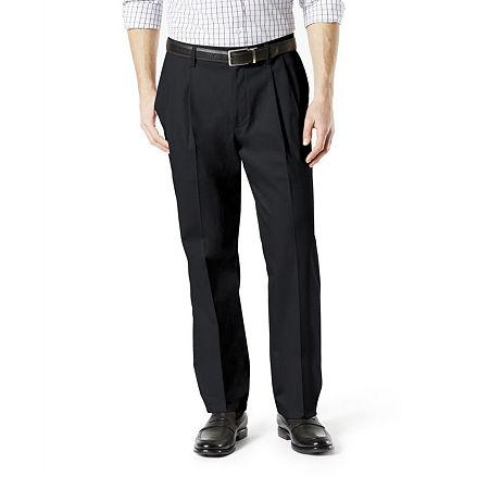 Dockers Men's Classic Fit Signature Khaki Lux Cotton Stretch Pants - Pleated D3, 33 30, Black