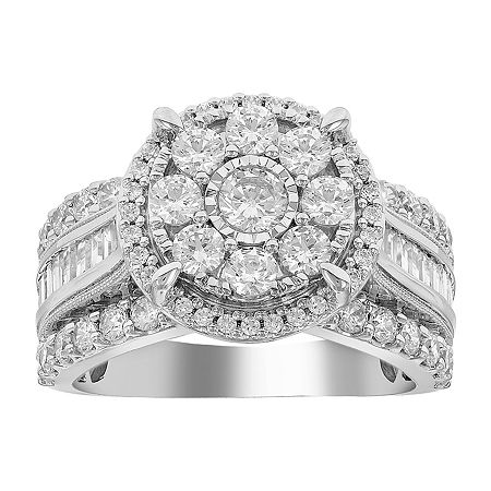 Womens 2 CT. T.W. Genuine White Diamond 10K White Gold Engagement Ring, 6 , No Color Family