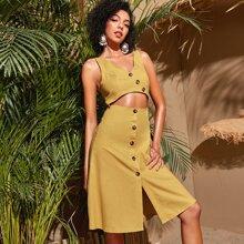 A-Linie Kleid mit Knopfen vorn und Ausschnitt
