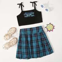 Girls Tie Shoulder Slogan Graphic Cami Top & Raw Hem Plaid Skirt Set