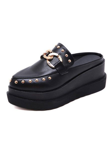 Milanoo Womens Black Flatform Mules Shoes Round Pointed Toe Mental Details Slippers