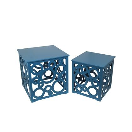 BM209927 Wooden Nesting Table with Circular Cut Out Design  Set of 2