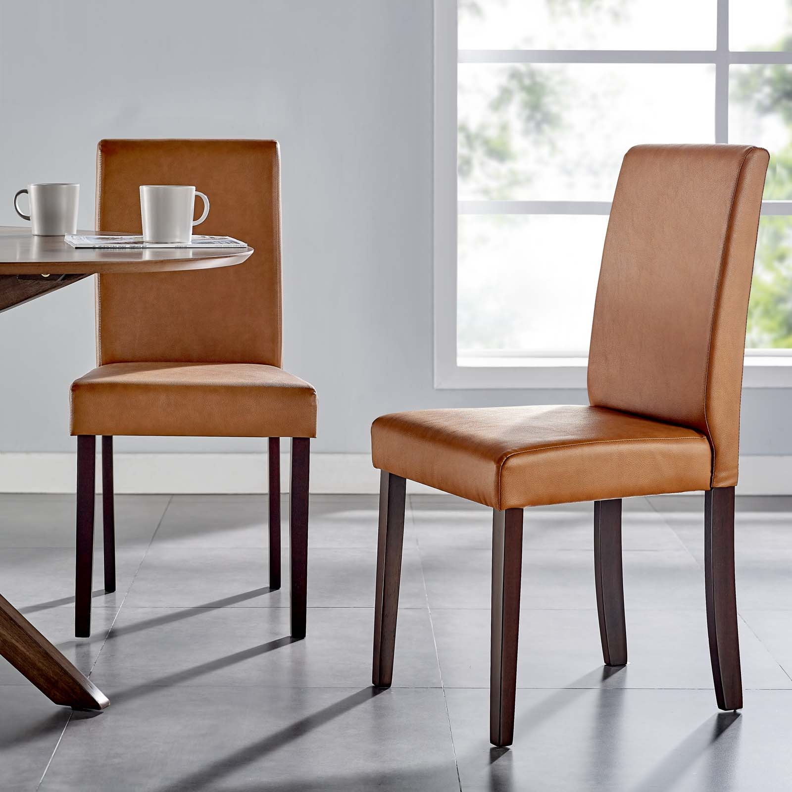 Prosper Faux Leather Dining Side Chair Set of 2 in Tan