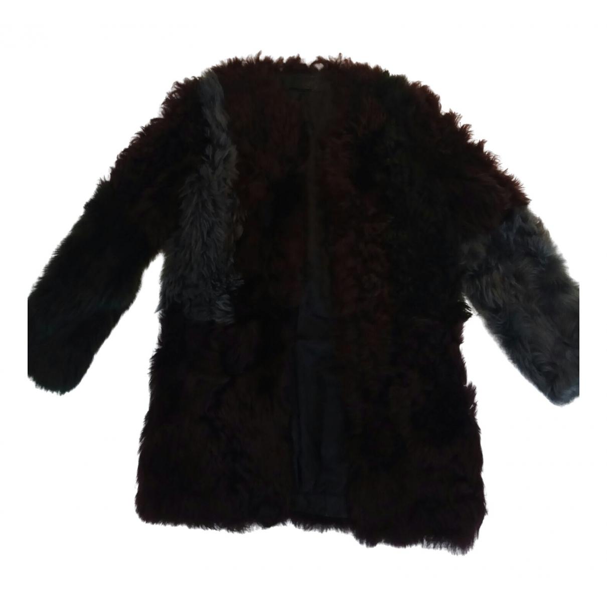 Karl Lagerfeld - Manteau   pour femme en fourrure synthetique - bordeaux