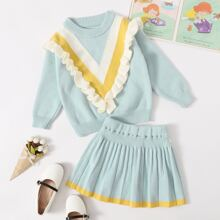 Toddler Girls Chevron Ruffle Sweater & Pleated Knit Skirt
