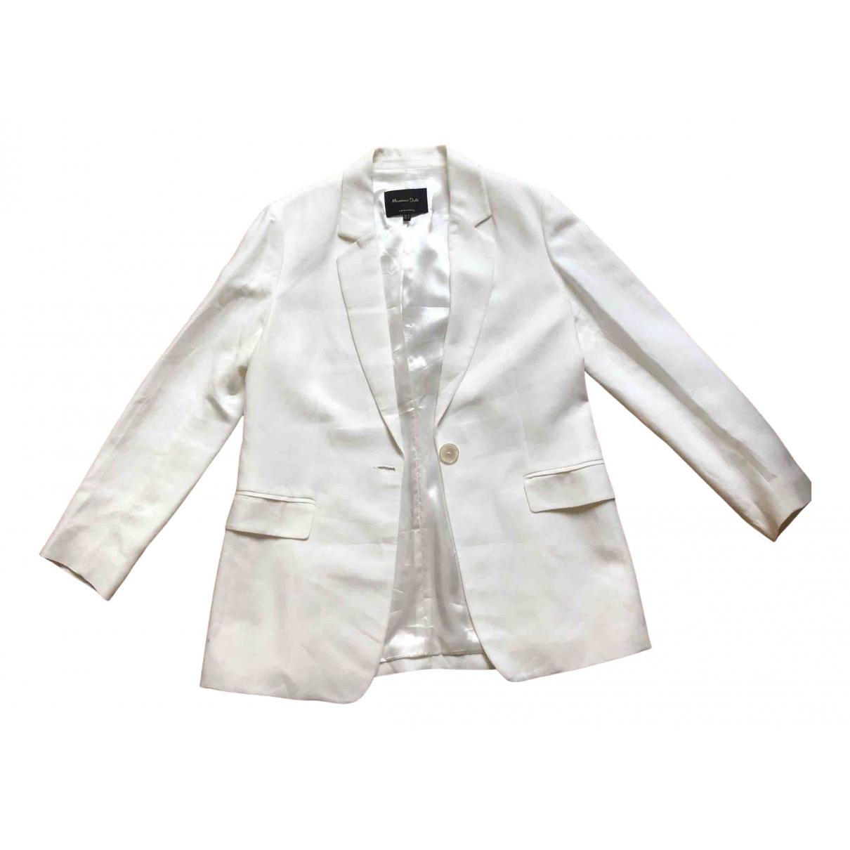 Massimo Dutti - Veste   pour femme en lin - blanc