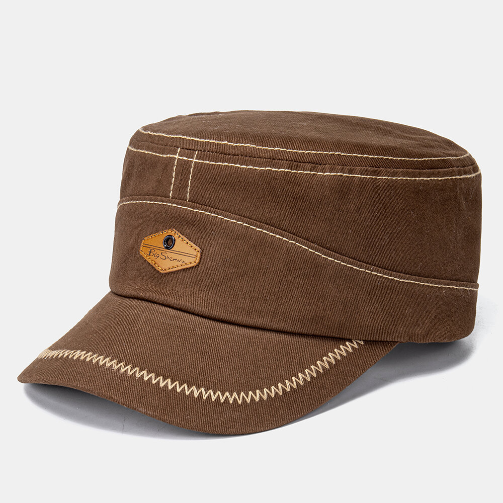 Men Solid Color Retro Keep Warm Outdoor Flat Hat Military Hat