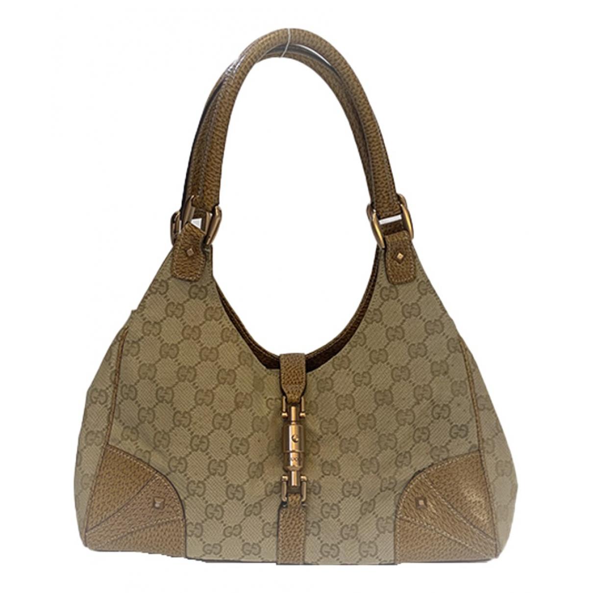 Gucci Jackie Vintage  Handtasche in  Beige Leinen