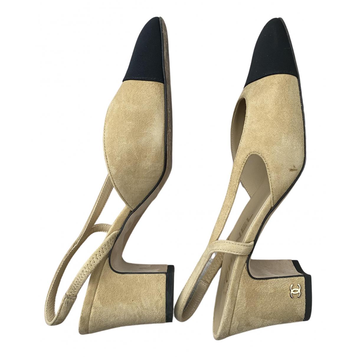 Chanel - Escarpins Slingback pour femme en toile - beige