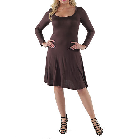 24/7 Comfort Apparel-Plus Casual Fit & Flare Dress, 2x , Brown