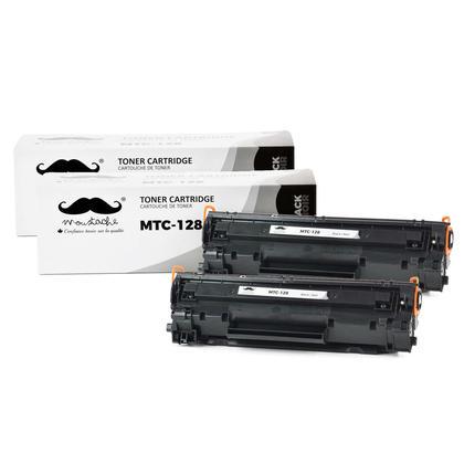 Compatible Canon 128 Black Toner Cartridge (3500B001AA) by Moustache - 2/pack