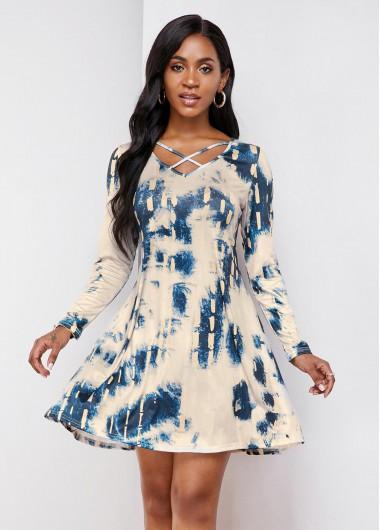 Cocktail Party Dress Long Sleeve Tie Dye Print Cross Strap Dress - One Size